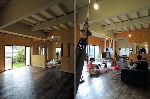 リビンングは天井を抜き、白塗装。渋い床が映えます。